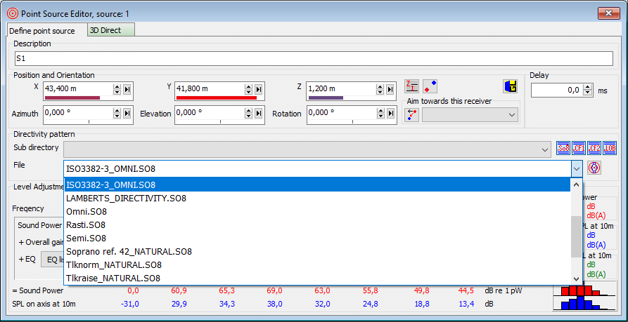 Selecting ISO 3382 omni directivity